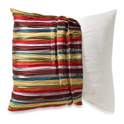 "Spencer N. Enterprises - MYOP Pleated Ribbons 20-Inch Square Toss Pillow Cover in Multi-Color - Makeover your ordinary toss pillow with the eye-catching MYOP Pleated Ribbons 20"" Square Toss Pillow Cover. The perfect finishing touch to any chair or sofa, the beautiful pillow cover features a colorful ribbon design."