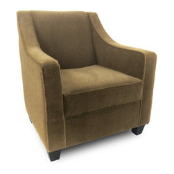 "Passport Home - Harry Chair - Sophisticated by design, the sloping silhouette of the Harry chair adds a chic and inviting aspect to any environment. Highlighted by a welting detail that only emphasizes its elegant profile, this chair is made for luxuriating with a tight back and soft seating comfort. The Harry chair is upholstered in a high quality fabric with the look of mohair. Features: -Solid wood legs.-Attached arm and back pillows.-Seat cushions of high performance.-Seams are sewn with bonded nylon.-Monofilament threads for strength and flexibility.-Soft and resilient 1.8 high density polyurethane foam with foam wrap.-Frame meets the strict standards of the California Air Resources Board.-Major frame joints are corner blocked, glued, and stapled for added stability.-Outside panels are padded to add softness and support to the fabric or leather, preventing it from sagging and becoming loose.-Tempered steel sinuous springs for both back and seat suspension ensures that your back pillows and seat cushions are properly supported and that extraordinary seat comfort is provided.-Made in the USA.-28.5"" H x 30"" W x 31"" D, 60 lbs.-Collection: Harry.-Upholstered: Yes .-Distressed: No.-Country of Manufacture: United States.Dimensions: -Overall Product Weight: 60 lbs."