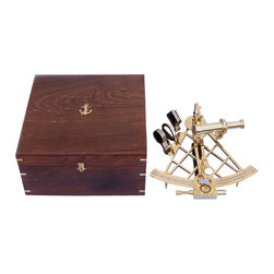 """Handcrafted Model Ships - Admiral's Brass Sextant 12"""" Brass Sextants Nautical Home Design Beach Living - The German C. Plath sextant is regarded as the """"Rolls Royce"""" of nautical sextants. This is the best sextant that we offer. This Hampton Nautical premium quality 12 inch radius sextant is a beautiful full scale reproduction of the venerable C. Plath micrometer drum brass sextant. Each sextant has a unique serial number stamped on the handle. There are six swing-arm filters mounted on thick brass filter mounts. The telescope has a large objective lens and produces a very bright and clear erect image. There are a pair of levers that when squeezed, pull the micrometer pinion away from the ground rack, allowing fast large angular movements of the index arm. The sextant is shipped with the mirrors correctly adjusted, and further adjustments can be made using three inset adjustment screws. The limb on the sextant is engraved """"Hampton Nautical."""" on the back of the sextant is a hardwood handle. The sextant comes with a beautiful felt-lined hardwood case which is made out of a high quality smooth finish hardwood. The box has one clasp and a brass filling of an anchor with rope Hampton Nautical embedded in the top of the box. Custom Engraving is available on this item with a minimum quantity purchased. Contact us for details."""