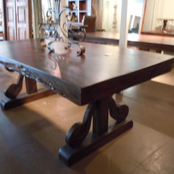 Solid slab table top with hand carved legs - Solid slab table top with hand detailed carved into the legs