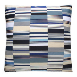 Dransfield & Ross - Dransfield & Ross Stripe Mix Pillow In Royal PL-6997-24 RYL - Dransfield & Ross Stripe Mix Pillow In Royal PL-6997-24 RYL