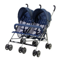 Dream On Me - Twin Stroller - Tote two tots around in the Twin Stroller from Dream On Me! This ultra lightweight double stroller features plenty of storage for all of your baby necessities, fully reclining seats, and umbrella-like canopies to protect your babies from harmful rays and weather. Features: -Ultra lightweight frame.-Fully reclining seats.-Five point harness.-Umbrella-style canopies.-Canopies are adjustable.-Extra storage basket provides ample space for your baby's essentials.-Convenient side-by-side design.-Ultra-lightweight stroller.-Seats fully recline.-Distressed: No.Dimensions: -Overall Product Weight: 26.5 lbs.