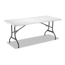 Alera - Alera Fold-in-Half Resin Folding Table, 71W x 30D x 29H, White - Conveniently folds in half for compact storage. Table features a fold-away carrying handle and dual casters for convenient transport. Strong powder coated steel black anthracite frame resists corrosion and provides exceptional stability. Durable resin table top is dent-, scratch- and stain-resistant and washes clean easily. Set-up is simple with gravity-leg locking mechanism.