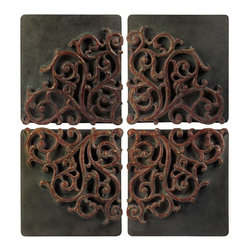 "IMAX CORPORATION - Divided Medallion Wall Art - Set of 4 - Asian Inspired Red and Gold design wall panels set of four. Set of 4 in various sizes measuring around 27.25""L x 13.75""W x 25.75""H each. Shop home furnishings, decor, and accessories from Posh Urban Furnishings. Beautiful, stylish furniture and decor that will brighten your home instantly. Shop modern, traditional, vintage, and world designs."