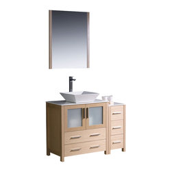 """Fresca - 42"""" Light Oak Vanity w/ Side Cabinet & Vessel Sink Soana Brushed Nickel Faucet - Fresca is pleased to usher in a new age of customization with the introduction of its Torino line.  The frosted glass panels of the doors balance out the sleek and modern lines of Torino, making it fit perfectly in eithertown or country decor."""