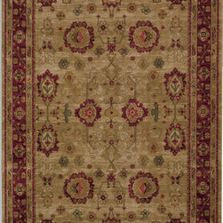 """Karastan - Karastan Antique Legends 2200-00203 (Oushak) 4'3"""" x 6' Rug - 'Antique Legends' is a breathtaking collection of Axminster rugs with a 'vintage' finish. Styling is based on some of Karastan's...and the world's...most legendary antique carpet designs, yet the interpretation is fresh; and the colors are perfect for today's eclectic interiors. Karastan designers, utilizing multiple shades of a color within the design motifs, painstakingly recreate the 'abrash' or stria effect often found in aged vegetable dyes. After weaving, 'Antique Legends' rugs are given a special antique wash to further harmonize the colors with a rich 'vintage' patina."""