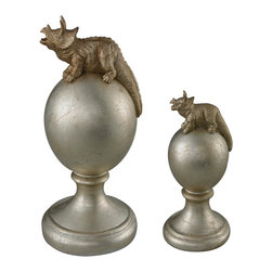 Sterling Industries - Triceratops Finials-Set Of 2 Triceratops Finials - Triceratops Finials-Set Of 2 Triceratops Finials
