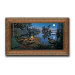 """Kim Norlien - Moonlit Bay 16 x 28 Print - """"Moonlit Bay"""" is a camping canvas giclee by Kim Norlien. We present this to you in a distressed moulding with a light walnut finished frame. This makes an overall framed size of 16 x 28."""
