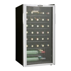 Danby - 35 Bottle wine cooler - 35 bottle (3.2 cu. ft.) capacity Temperature cooling range 6�C ~ 14�C (42.8�F ~ 57.2�F) Shatter resistant tempered glass door with platinum trim Interior display light Auto cycle defrost 5 slide out shelves 1 staggered shelf Reversible door hinge                                                                                                                                                                               Unit dimensions 17 8/16 x 20 1/16 x 32 12/16
