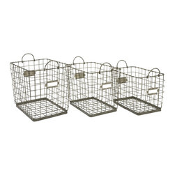 iMax - iMax Newbridge Wire Storage Baskets - Set of 3 X-3-91348 - Great for linens, magazines and many other items, this collection of Newbridge wire baskets is perfect for a variety of storage uses.