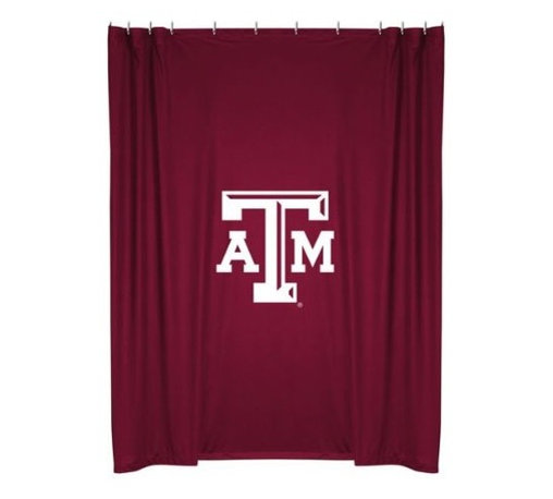 Sports Coverage - Texas A & M Shower Curtain - This 72 x 72 officially licensed Texas A&M University shower curtain of jersey material with logo is perfect for any bathroom in need of a little extra team spirit. It weighs approximately one pound and is screen printed with Plastisol. Shower Curtain is 100% Polyester Jersey
