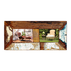 2 Photo Frame, Medium Wood - This rustic 2-Photo Frame is perfect for the kitchen, office or bedroom. The frame features distressed paint over a rich brown finish for rustic, casual appeal. Whether alone, or grouped, this frame is a lovely choice for showing off friends, family, and good times.