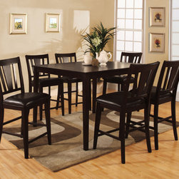 Hokku Designs - Bridgette 7 Piece Counter Height Dining Set - Indulge in casual yet fashionable dining room decor. The Bridgette 7-Piece Counter Height Dining Set in Espresso Finish presents a casualty design in a warm and inviting espresso finish with ravishing arched-back chairs. Features: -Overhang squared table top panel crafted with corner blocking for structural integrity.-Extra padded leatherette seat cushioning offer superior comfort.-Slightly curved slats back chair design.-ISTA 3A certified.-Set Includes one counter height dining table and six counter height dining chairs.-Frame construction: MDF, solid wood and veneers.-Espresso finish.-Warm and inviting finish compliments most home furnishing.-Distressed: No.Dimensions: -Dining table dimensions: 36'' H x 48'' W x 48'' D.-Chair dimensions: 41'' H x 18.5'' W x 21.75'' D.