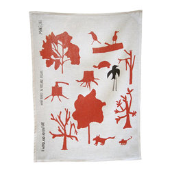 makelike design - Tea Towel - Woodland Adventure - This two-color tea towel is hand-screenprinted using water-based inks on 100% European linen.