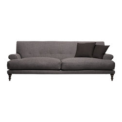 Oscar Sofa - This sofa seems somewhat traditional elegant, yet its very narrow base gives it some contemporary lines as well. Plush, contemporary and tufted – it's a winner!