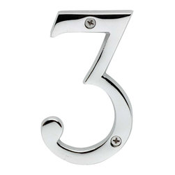 Renovators Supply - House Numbers Chrome House Number # 3 - House numbers: Crafted of chrome over solid brass, these sand cast numbers measure 3-7/8 in. high. Beautiful chrome will withstand the test of time. Includes 2 screws for mounting.