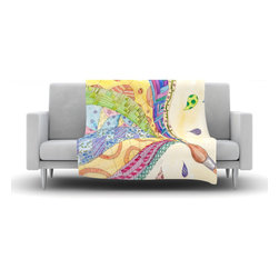 "Kess InHouse - Catherine Holcombe ""The Painted Quilt"" Fleece Blanket (50"" x 60"") - Now you can be warm AND cool, which isn't possible with a snuggie. This completely custom and one-of-a-kind Kess InHouse Fleece Throw Blanket is the perfect accent to your couch! This fleece will add so much flare draped on your sofa or draped on you. Also this fleece actually loves being washed, as it's machine washable with no image fading."