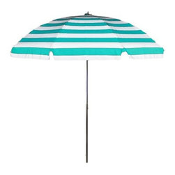 Acrylic No-Tilt Patio Umbrella, Turquoise Stripe - Reading a paperback on a long summer day is my idea of heaven, but I don't want to get scorched doing it. An umbrella will give me the shade I crave, and this one looks so cute too.
