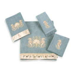 Avanti - Avanti Seahorses Washcloth in Mineral - Bath towels will lend a sweet touch to your bathroom. Embellished with embroidered and appliqued seahorse motifs, towels are accented with coordinating fabric bands and dangling shell trims.