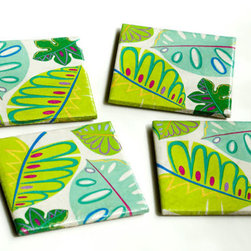 Tropical Leaves Green and Aqua Coasters by The Tilissimo - I just love the bold colors and pattern of these ecofriendly ceramic coasters.