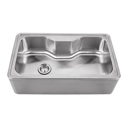 Whitehaus - Whitehaus Whnapa3016 Noah's Single Bowl Sink - single bowl drop-in sink with a seamless customized front apron