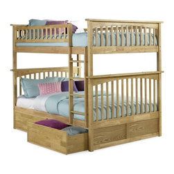 Atlantic Furniture - Columbia Full Over Full Bunk Bed w Flat Panel Storage Drawers - NOTE: ivgStores DOES NOT offer assembly on loft beds or bunk beds. Includes full upper and lower panels, rails, ladder clip-on, slat kits and flat panel drawers. Mattress not included. Solid hardwood Mortise & Tenon construction. 26-Steel reinforcement points. Made of premium, eco-friendly hardwood with a 5-step finishing process. Designed for durability. Guard rails match panel design. Meet or exceed all ASTM bunk bed standards, which require the upper bunk to support 400 lbs.. Pictured in Natural Maple finish. 1-Year manufacturer's warranty. Clearance from floor without trundle or storage drawers: 11.25 in.. 80.5 in. L x 58.38 in. W x 68.13 in. H. Flat panel drawers: 74 in. L x 22 in. W x 12 in. H. Bunk Bed Warning. Please read before purchaseThe Columbia bunk bed features a classic Mission style design with subtle curves and solid post construction.