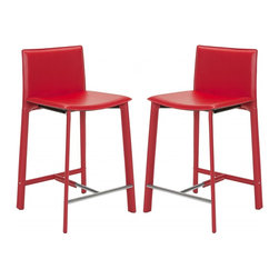 "Safavieh - Janet 24"" Counter Stool (Set Of 2) - Equal parts good looks and practicality, the 24 in Janet counter stool complements kitchens and family rooms designed for comfort and chic contemporary style. With slightly flared legs, stainless steel foot rails and an iron frame completely upholstered in red bonded leather, Janet will deliver years of active family service."