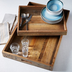 Reclaimed Wood Tray - These reclaimed wood trays are great for placing on an ottoman coffee table or for serving breakfast in bed. Add a vase of tulips to brighten up your decor.