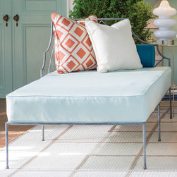 Directional chaise covered in Meridian Frost - The calm feel was created with some cool colors like this Sunbrella covered chaise.