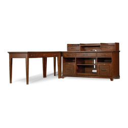 """Hooker Furniture - Wendover Computer Credenza - White glove, in-home delivery included!  Furniture assembly included!  Credenza only.  Shown with Wendover Smart Hutch, Corner Unit, and Leg Desk: Sold separately.  The Wendover Collection is crafted from poplar solid and cherry veneers.  It features a light physical distressing.  FC620 power bar with two electrical outlets, phone jack, high speed data ports and USB upstream and downstream.  Also offers one electrical outlet and matching data, phone and USB port on the bottom.  Center drawer with drop-front for keyboard use, two utility drawers with a pencil tray and drop-in writing insert for use in either drawer.  Both drawers have removable dividers.  Two locking file drawers with pendaflex letter/legal filing system.  One adjustable shelf, one pullout printer tray.  Printer Space without shelf: 23"""" w x 19 3/8"""" d x 16 15/16"""" h  Keyboard Space: 22"""" w x 14"""" d x 2 13/16"""" h"""