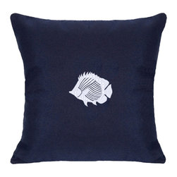 """Nantucket Bound, Inc. - Sunbrella Tropical Fish Pillow by Nantucket Bound, Navy - Nantucket Bound's indoor/outdoor pillow measures 18"""" square and features and embroidered anchor design. Fabric is fade and weather-resistant Sunbrella, making it ideal for bedroom to family room and patio to poolside! Cover removes for machine washing. Insert included.  Available in 5 coordinating colors."""
