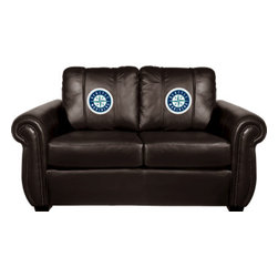 Dreamseat Inc. - Seattle Mariners MLB Chesapeake BLACK Leather Loveseat - Check out this awesome Loveseat. It's the ultimate in traditional styled home leather furniture, and it's one of the coolest things we've ever seen. This is unbelievably comfortable - once you're in it, you won't want to get up. Features a zip-in-zip-out logo panel embroidered with 70,000 stitches. Converts from a solid color to custom-logo furniture in seconds - perfect for a shared or multi-purpose room. Root for several teams? Simply swap the panels out when the seasons change. This is a true statement piece that is perfect for your Man Cave, Game Room, basement or garage.