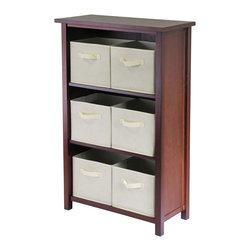 Winsomewood - Verona 3- Section M Storage Shelf with 6 Foldable Beige Color Fabric Baskets - This storage shelf comes with 6 foldable beige fabric baskets. Warm Walnut finish storage shelf is perfect for any room in your home. Use it alone as bookcase/shelf or with baskets for a complete storage function. Assembly required for shelf.