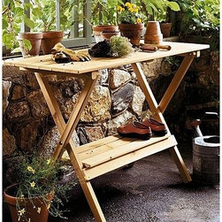 Merry Products Simple Potting Bench - Does your mom enjoy gardening? Brighten her special day with a simple potting bench to help her out in the garden.
