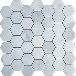 "White Carrera - White Carrera Hexagon Mosaic 2"" - White Carrera Hexagon Mosaic Marble 2"""