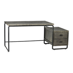 Jackson Desk, Grey - An inspired mix of modern minimalist and industrial, the Jackson desk creates a striking focal point for your office. Crafted from a metal tube frame, this wood-topped desk features a completely open style - ready for whatever you need to accomplish. Perfect for spreading out when working or designing, this generous desk also includes a sidecar design that holds a two-drawer wood cabinet so you can stash all the tools of your trade.