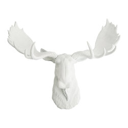White Faux Taxidermy - The Edmonton - White Faux Resin Moose Head - Measurements: