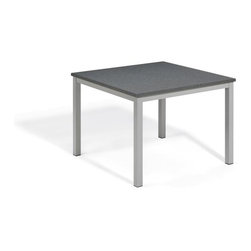 Oxford Garden - Travira 39 Table, Alstone Graphite - The Travira 39 makes a statement in any dining environment. With the ability to seat four, the Travira 39 Table is available with a Teak, Tekwood (Natural or Vintage) or Alstone table top, complementing the bold gray of the powder-coated aluminum. Table top made from Alstone, featuring a strong aluminum core with granite polymer finish, creating the look of granite with the weight of aluminum.