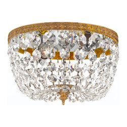 Crystorama Lighting Group - Crystorama Lighting Group 708-CL Two Light Majestic Wood Polished Crystal Flush - Two Light Majestic Wood Polished Crystal Basket