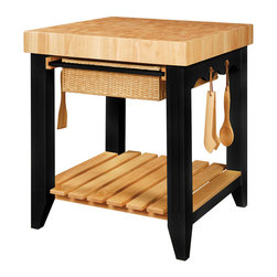 Powell - Powell Color Story Black Butcher Block Kitchen Island - A square kitchen island that is your kitchen storage and food preparation center essential for gourmet food preparation with butcher block top, 2 basket pull out drawers, slat easy access storage base shelf, 4 utensil hooks, and adjustable glides. Includes accessory kit containing spoon, spatula and tongs. Finished in black. Some assembly required.