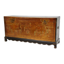 Oriental Furniture - Gold Leaf Daily Life Trunk - This long, Ming-style blanket trunk is richly finished in lacquered gold leaf. It has been decorated with a hand-painted Ming village scene in a soft color pallette and fitted with antiqued brass hardware to reinforce the lid, body, and base.  The front features beautiful, ornate butterfly closures to latch the lid shut.