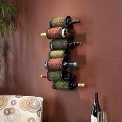 Upton Home - Upton Home Tiago Wall Mounted Wine Rack - Crafted by Tiago,this metal wall mounted wine rack is a stunning addition to any home,and the warm color palette enhances any decor. The rack holds seven standard-size wine bottles and measures 25 inches high by 7.5 inches wide by 7.25 inches deep.