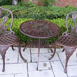 Oakland Living - 3 Pc Cast Aluminum Bistro Set w Table & Two C - Beautiful 3-pc. bistro set includes 1 round table, 2 chairs. Provides years of beautiful, durable rustproof performance, even in coastal and harsh climates. Glass topped table features 0.25 in. thick tempered safety glass. Made of cast aluminum with stainless steel nuts and bolts. Antique Bronze finish. Table: 26 in. Dia. x 26 in. H (52 lbs.)