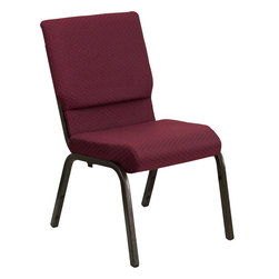 Flash Furniture - HERCULES Series 18.5'' Wide Burgundy Patterned Stacking Church Chair with 4.25'' - This HERCULES Series Church Chair will add elegance and class to any Church, Hotel, Banquet Room or Conference setting. If you are looking for a chair with comfort and style that is easy to move and stores away with ease, then look no further. This built to last chair has a 16-gauge steel frame that has been tested to hold 800 lbs. This church chair features double support bracing, ganging clamps, a cushion that graduates to a 4.25'' thick waterfall edge and plastic floor glides to protect non-carpeted floors. Our church chair is manufactured by one of the most reputable stack chair manufacturers in the industry, you can be assured of the quality of this chair offered to you.