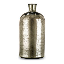 Kathy Kuo Home - Cypress Antique Mercury Glass Decorative Bottle- Medium - The antique silver finish of this mercury glass bottle reflects an alluring sense of age and character.  The cylindrical, petite form is complemented by seamlessly conjunction with the medium and large Cypress Bottle(s).