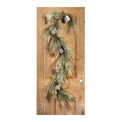 Snowy Pinecone Garland - All of the look of real pine needles but none of the mess, the Snowy Pinecone Garland has real pinecones to complete the look. 6 feet of white snow tipped garland that can be fashioned above a fireplace on the mantle, or wound around a stairwell perfectly bringing the wintery outdoors, in.