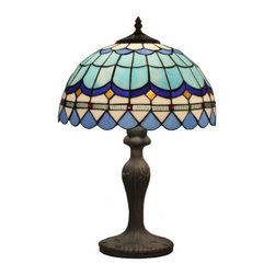 Geometry Glass Shade Blue Tiffany Table Lamps for Bedroom - Geometry Glass Shade Blue Tiffany Table Lamps for Bedroom