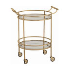 "Arteriors - Arteriors Home - Wade Antique Brass Bar Cart - 6752 - Transitional round bar/serving cart in antique brass finish Features: two mirrored shelves with antiqued borders, a pair of handles and 4 casters for mobility. Features: Wade Collection Bar CartAntiqued Mirror Border Antique Brass finish Some Assembly Required. Dimensions: W 26 1/2"" x D 21"" x H 33"""