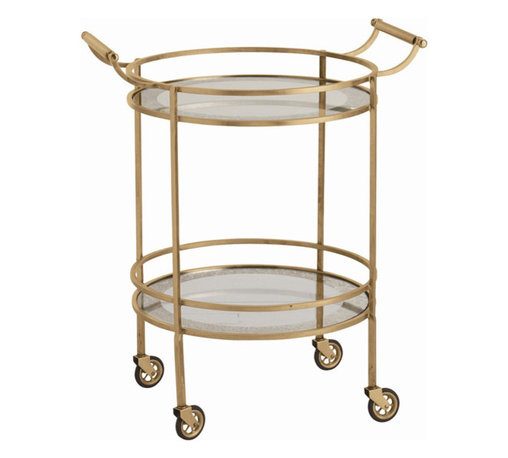 """Arteriors - Arteriors Home - Wade Antique Brass Bar Cart - 6752 - Transitional round bar/serving cart in antique brass finish Features: two mirrored shelves with antiqued borders, a pair of handles and 4 casters for mobility. Features: Wade Collection Bar CartAntiqued Mirror Border Antique Brass finish Some Assembly Required. Dimensions: W 26 1/2"""" x D 21"""" x H 33"""""""