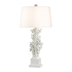 "Currey & Company - Currey & Company White Coral Lamp - This stylized coral lamp is finished with white lacquer and topped with a white silk shade, giving it a contemporary feel.  Features a three-way switch and takes a single 100 watt max bulb (BULB IS NOT INCLUDED).  The lamp measures 16""W X 32""H and the shade measures 14"" X 16"" X 10""."